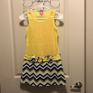 Yellow and chevron striped dress